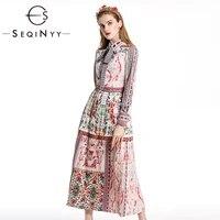 seqinyy vintage dress 2020 autumn winter new fashion design long sleeve bow flowers printed midi pleated dress
