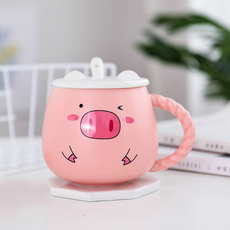 400ML Cute Pig Ceramic Mug Pink Pig Breakfast Milk Cup With Lid Spoon Lady Gift Coffee Mug Handle Creative Ceramic Cups