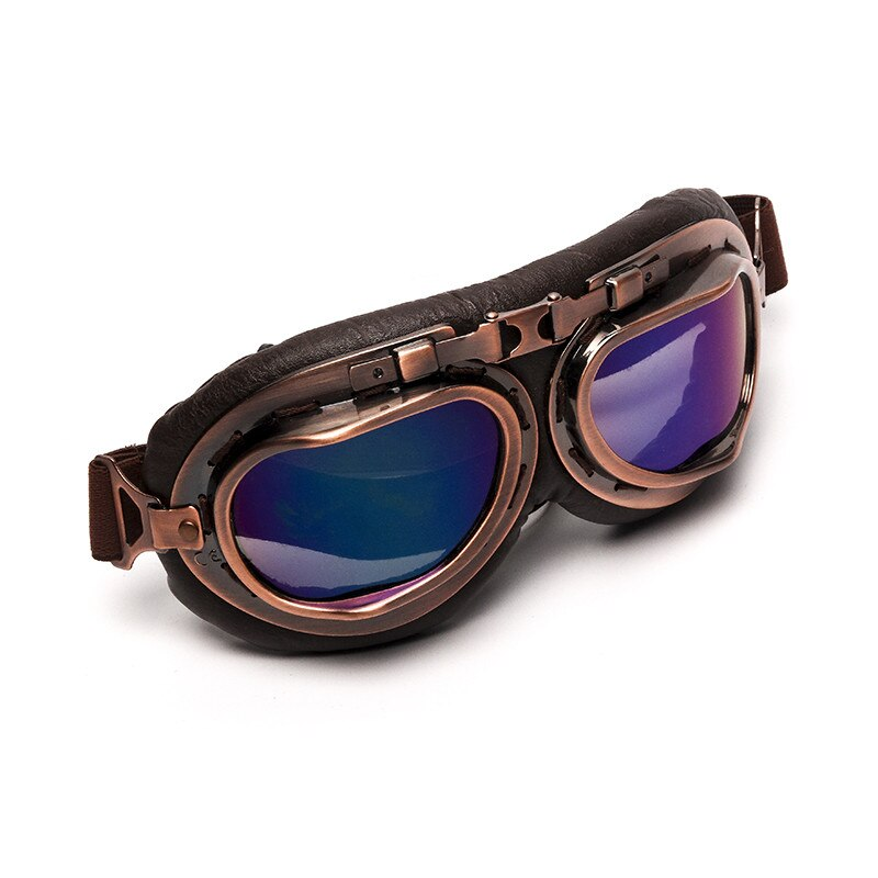 Helmet Steampunk Copper Glasses Motorcycle Flying Goggles Vintage Pilot Biker Eyewear Goggles Protective Gear Glasses motorcycle atv riding scooter driving flying protective frame clear lens portable vintage helmet goggles glasses for 2009 buell xb12r