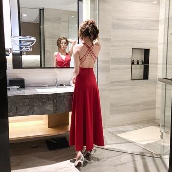 Women's Clothing Elegant Backless Sling KTV Glade Long Low-Cut Cinched Slimming Sexy Dress