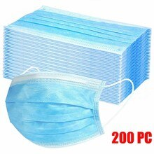 200pcs Disposable Face Mask Face Scarfs Anti-dust Face Filter Earloop Activated Carbon Blue Non-wove