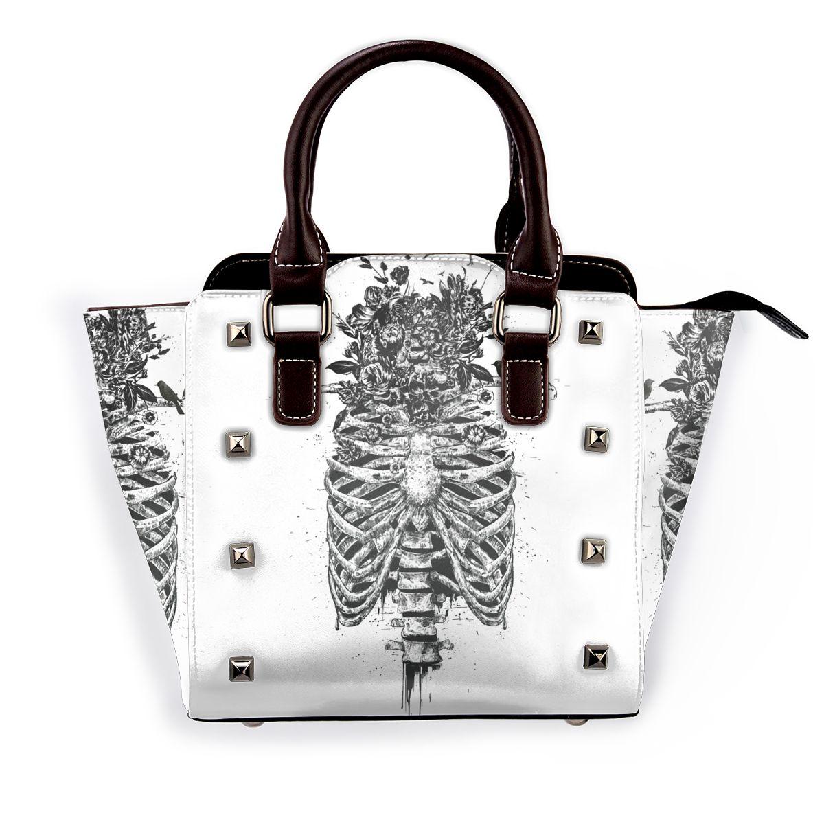 الهيكل العظمي الزهور الطيور حقيبة كتف كول التسوق امرأة حقيبة يد الهدايا حقائب جلدية أنيقة