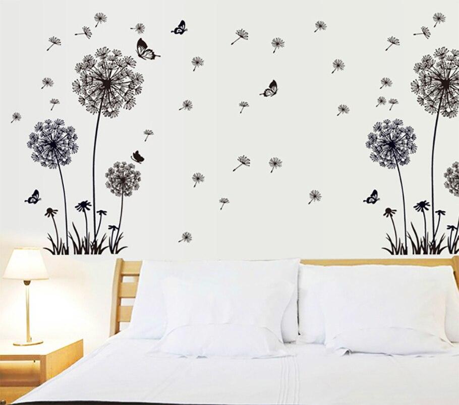 """""""Borboleta voando em dandelion"""" quarto sala adesivos de parede estilo design pvc decalques de parede 5125"""
