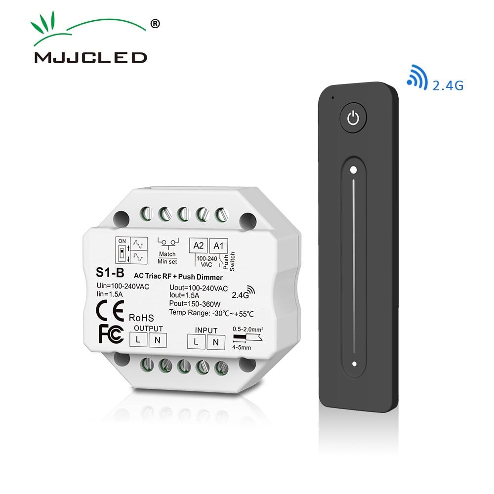 AC Triac Dimmer 220V 230V 110V LED Lamp Push PWM Switch 2.4G Wireless RF Touch Remote Control S1-B Dimer