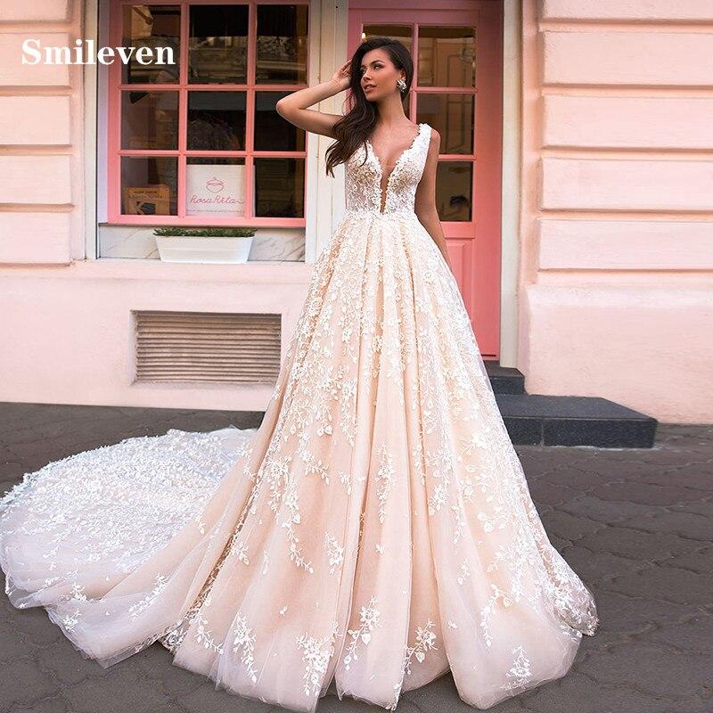 Smileven encaje Vestido De novia una línea vestidos De novia corte princesa espalda descubierta Puff Vestido De novia con tul Vestido De noiva