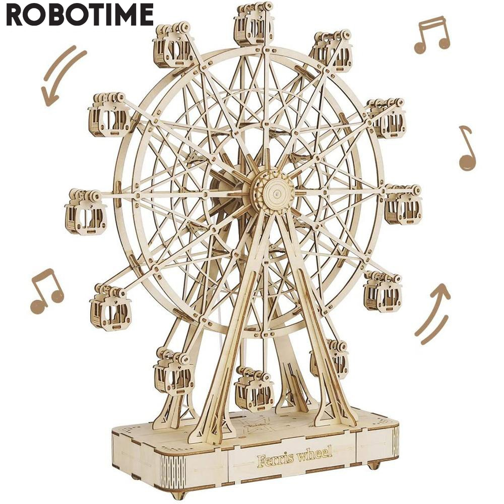 Robotime لتقوم بها بنفسك قابل للدوران ثلاثية الأبعاد خشبية لغز صندوق تشغيل الموسيقى دُولابٌ دَوّار للهدايا
