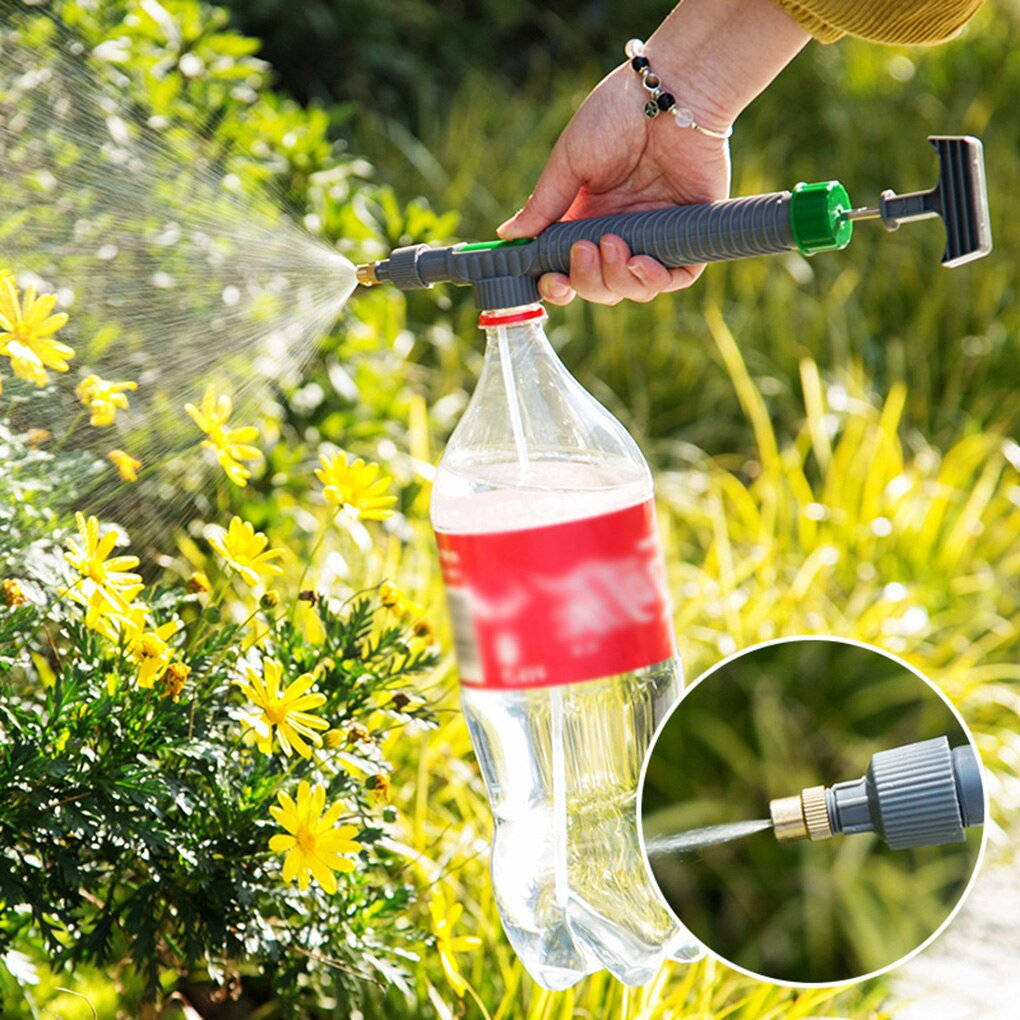 Household High Pressure Air Pump Manual Sprayer Plastic Garden Trolley Adjustable Nozzle Watering Spray Sprayer Head with Joint