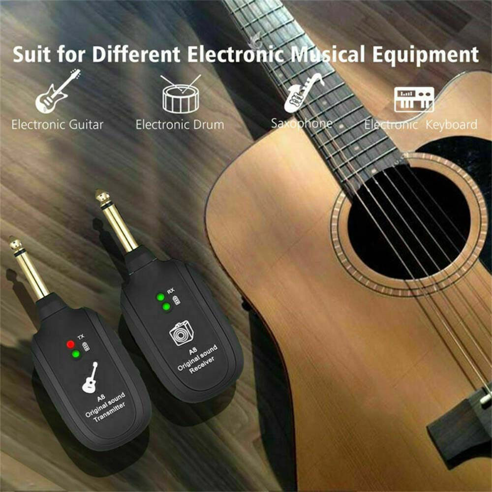 Wireless Guitar System 2.4G Rechargeable 4 Channels Audio Transmitter & Receiver  Accessories enlarge