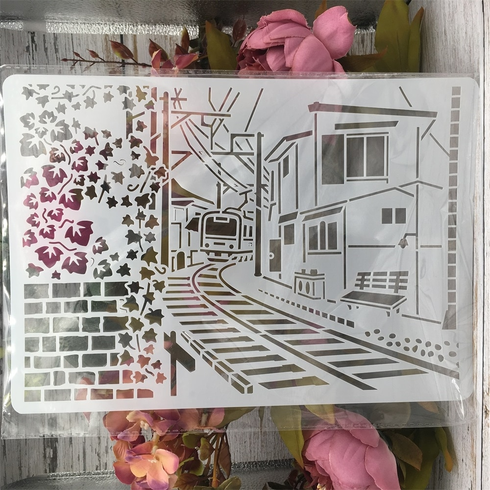 A4 29cm Town Railway Train House DIY Layering Stencils Wall Painting Scrapbook Coloring Embossing Album Decorative Template