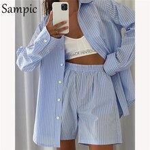 Sampic-ropa de estar por casa para mujer, conjunto de pantalones cortos, camisa de manga larga a rayas, Tops y pantalones cortos holgados de cintura alta, 2021