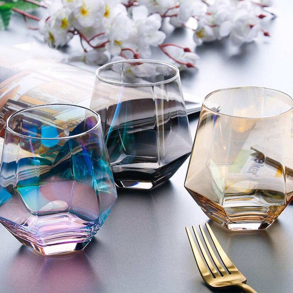 Taza de cristal transparente Hexagonal de diamante creativa para cóctel, whisky, cerveza, vaso de cristal con borde dorado, café transparente, taza de té de la leche, herramienta para Bar