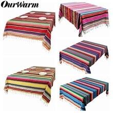 Mantel de Serape OurWarm, decoración de Fiesta, Fiesta de cumpleaños, Baby Shower, manta de algodón con Serape mexicano, cubierta de mesa de hogar de 150x215cm