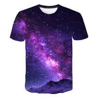 2021 summer purple pattern t shirt mens space 3d printing universe short sleeve printing interesting casual top o neck punk