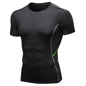 Men's Running T-Shirts Quick Dry Compression Sport T-Shirts Fitness Gym Running Shirts Tees Men's Soccer Jersey Sportswear Black