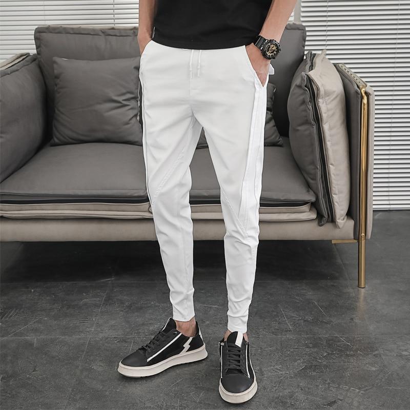 Korean Summer Pants Men Fashion Design 2021 Slim Fit Men Harem Pants Ankle Length Solid All Match Hip Hop Joggers Trousers Men