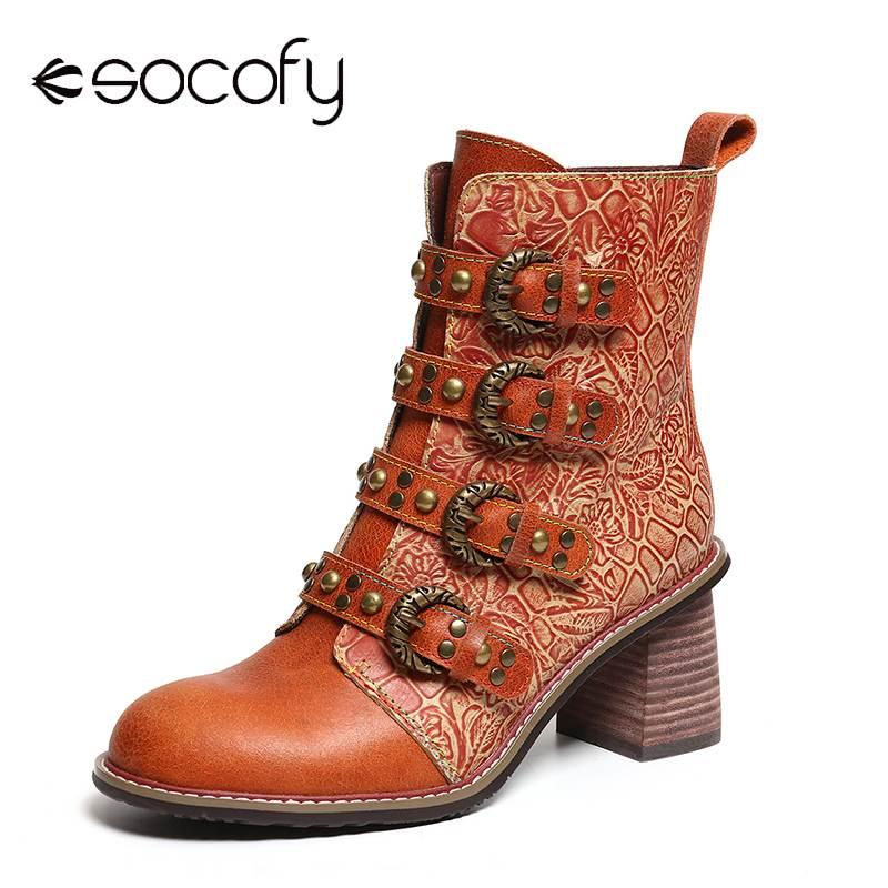 SOCOFY Retro botas de Metal hebilla remache de cuero genuino negro guapo alto tacón cremallera botas Zapatos mujeres Botines Mujer 2020