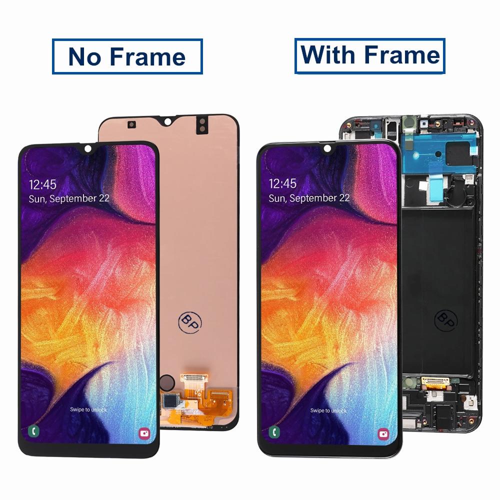 شاشة OLED لسامسونج غالاكسي A50 A50S SM-A505F شاشة LCD SM-A505FN الجمعية مع الإطار لسامسونج A50 A50S SM-A507F SM-A507