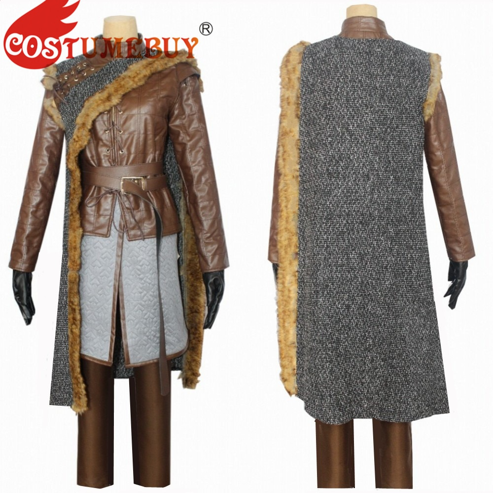 CostumeBuy-أزياء تنكرية من Thrones ، الموسم 8 ، Arya Stark Cosplay ، بدلة جلدية من العصور الوسطى ، L920