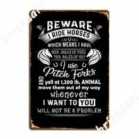 Panneaux metalliques imprimes  amusants  cadeau dequitation  mefiez-vous  je monte a cheval  cinema a domicile  affiche de Garage  affiches en etain