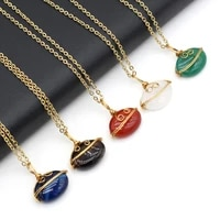 new natural stone simple link necklace redgreenwhite agates crystal necklace pendant jewelry for women reiki heal party gifts