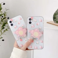 cute peach flower holder silicone phone case for 11 12 pro x xr xs max 8 6s 7 plus se2020 transparent lens protection cover