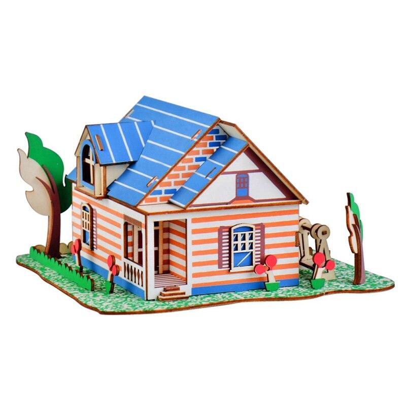 Montagem do bebê mão trabalho educativo brinqued crianças 3d de madeira diy casas jigsaw crianças castelo padrão construção quebra-cabeça brinquedos