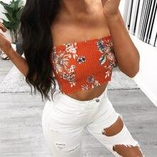 Brand New Fashion Top Women Sexy Girls Strapless Bra Bandeau Fits Fashion Tube Floral Printing Tops Shirt