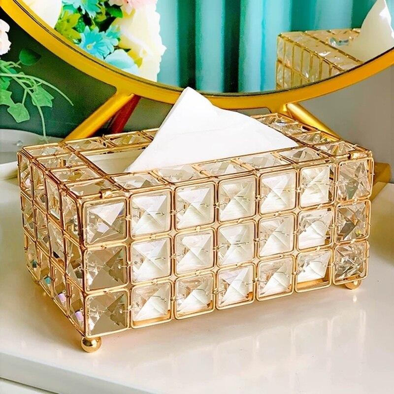 Perla/cristal tejido caja de cristal europeas caja para guardar pañuelos para coche dispensador de servilletas mesa de salón habitación cajas de la cocina para la decoración