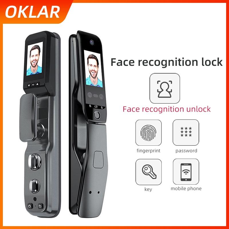 OKLAR-قفل التعرف على الوجه ، قفل الباب الذكي ، الأمان ، الرقمي ، البصمة البيومترية ، فتح البطاقة الخارجية ، كلمة المرور