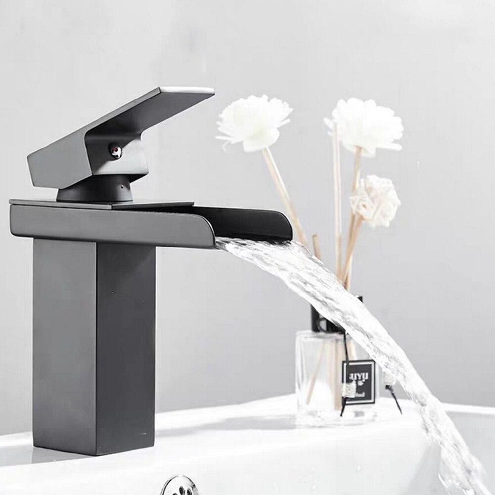 304 حمام من الفولاذ المقاوم للصدأ صنبور أسود شلال الفن حوض افتتاح بالوعة صنبور للمياه الساخنة Cold اكسسوارات المطبخ