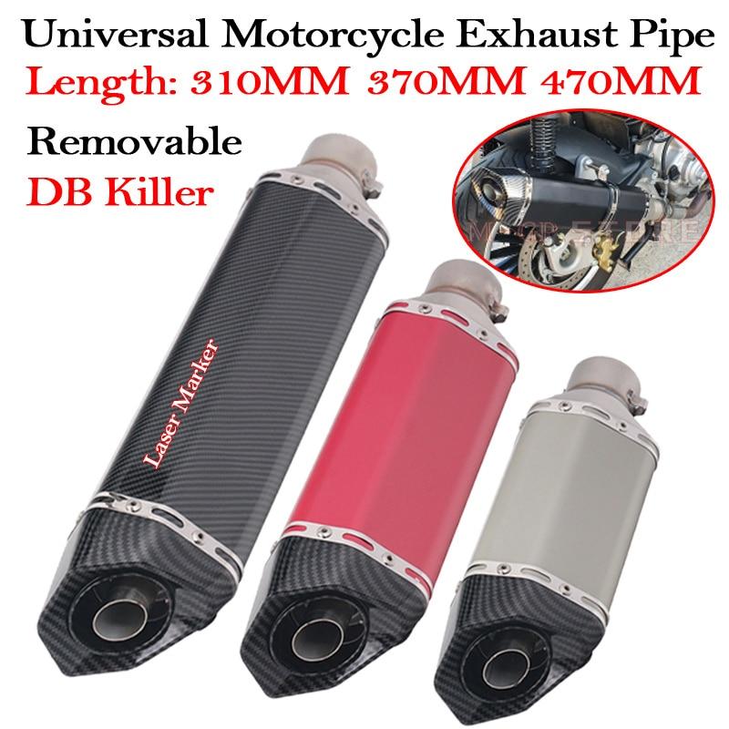Универсальный глушитель для мотоцикла, выхлопная труба 36-51 мм, 310 мм, 370 мм, 470 мм