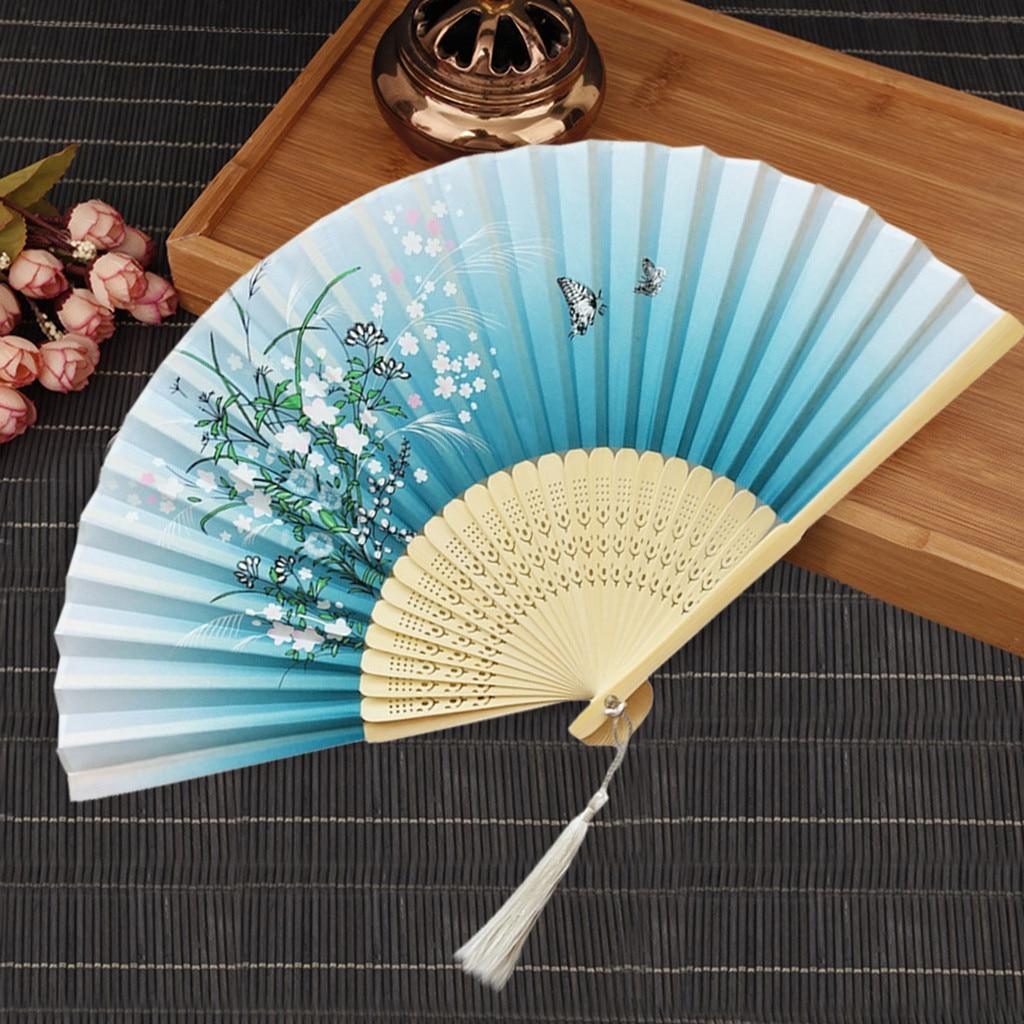Abanicos chinos tradicionales, abanicos de mano, abanico plegable de papel de bambú, ventilador plegable de mano para la iglesia o la boda, abanicos decorativos