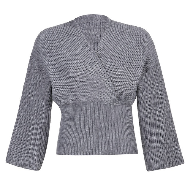 Korean version chic pit long-sleeved loose knit sweater woman autumn winter new style temperament v-neck waist slimming jacket 10