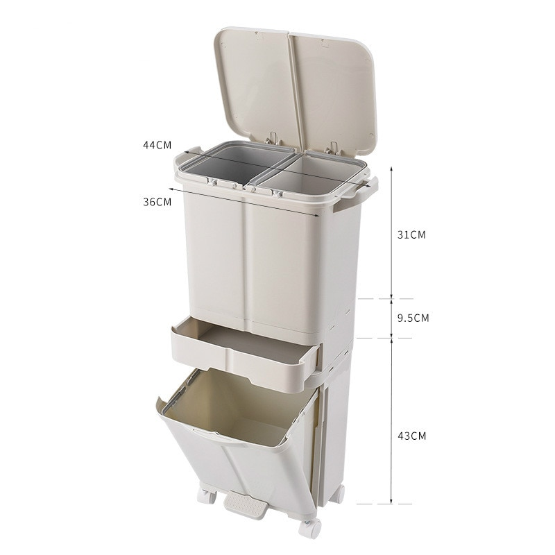 3 Layer Garbage Trash Can Wet and Dry Classification Plastic Trash Bin Pressing Type Kitchen Storage Bucket Multifunction Tool enlarge
