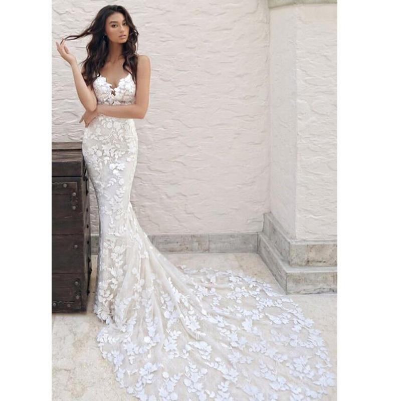 ارتفع مودا رقيقة الأشرطة الخامس الرقبة شانتيلي الدانتيل حورية البحر فستان الزفاف منخفضة الخامس الظهر فستان زفاف مخصص