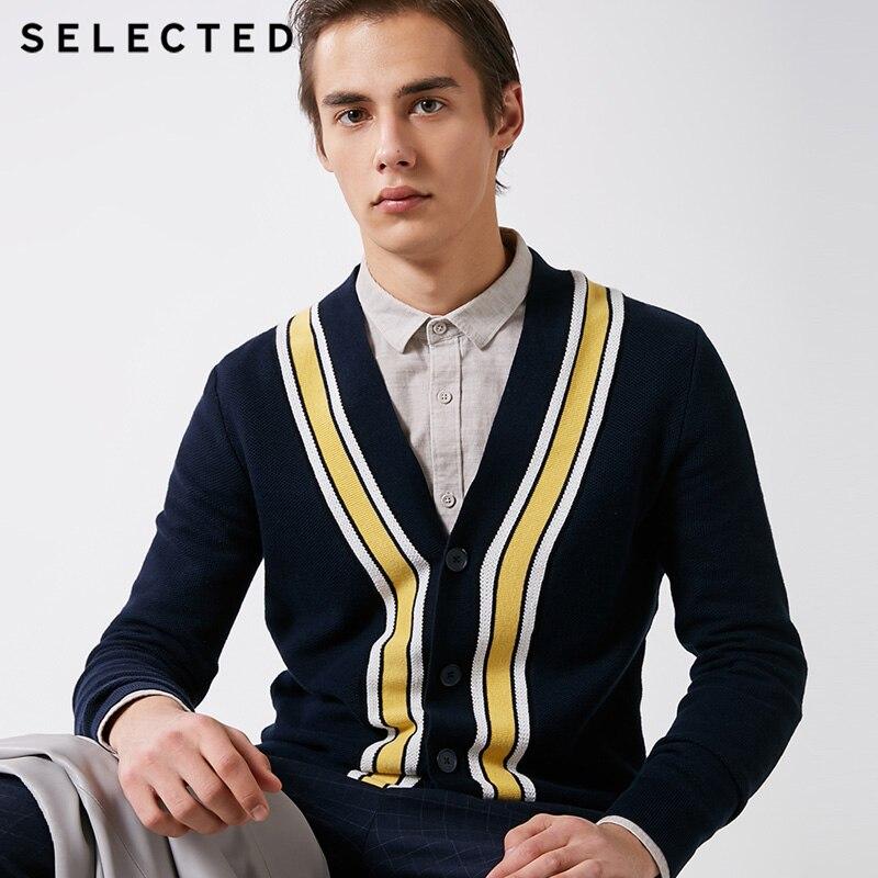 Camisola de lã de algodão de inverno com listra masculina selecionada   419124527