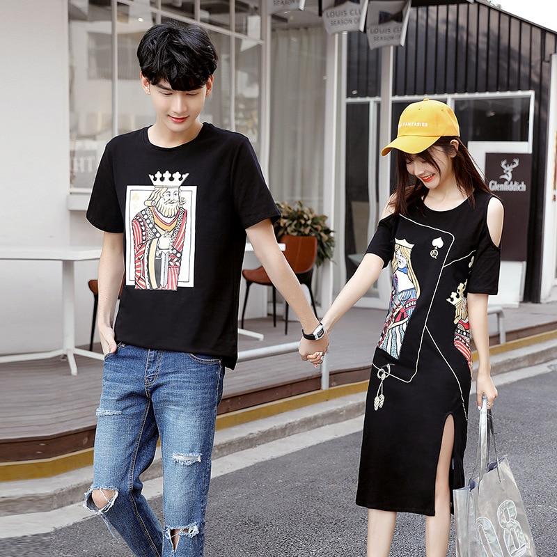 Tshirts roupas estilo faculdade de moda amantes par casal coreano mulheres verão vestido de praia da família roupas combinando roupa desgaste 15