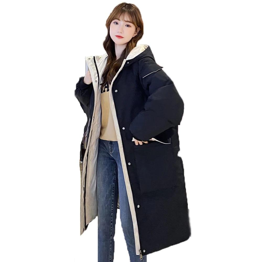 جواكت شتوية للسيدات 2021 X-طويلة معطف شتوي للنساء بقلنسوة بنمط كوري سميك سادة جيب كبير فضفاض باركاس نسائي