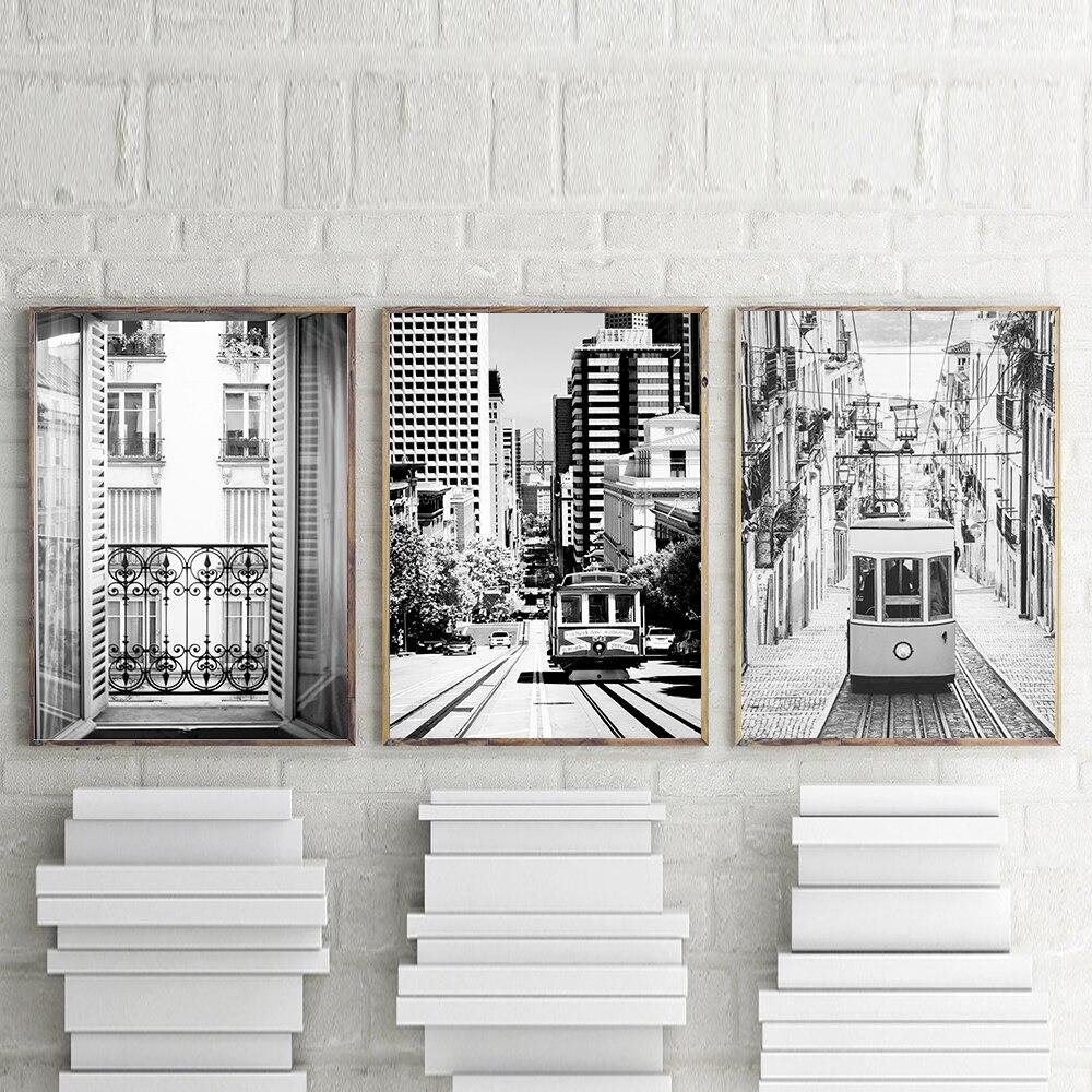 Vista decorativa del cartel de París, lienzo blanco y negro, impresión en pósteres de pared e impresiones artísticos, imágenes de pared para decoración para sala de estar