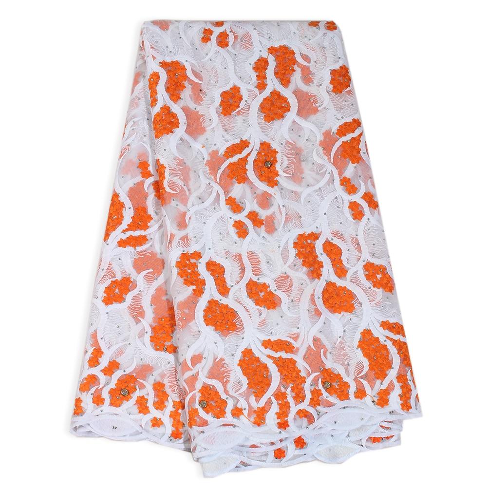 2020 de alta qualidade strass bordado francês tule net laços laranja africano roupas festa aso ebi nigeriano tecido renda