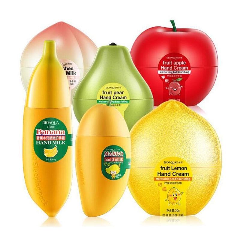 BIOAQUA Fruit Pear Lemon Peach Mango Banana Moisturizing Hydrating Hand Cream for Winter Hand Care N
