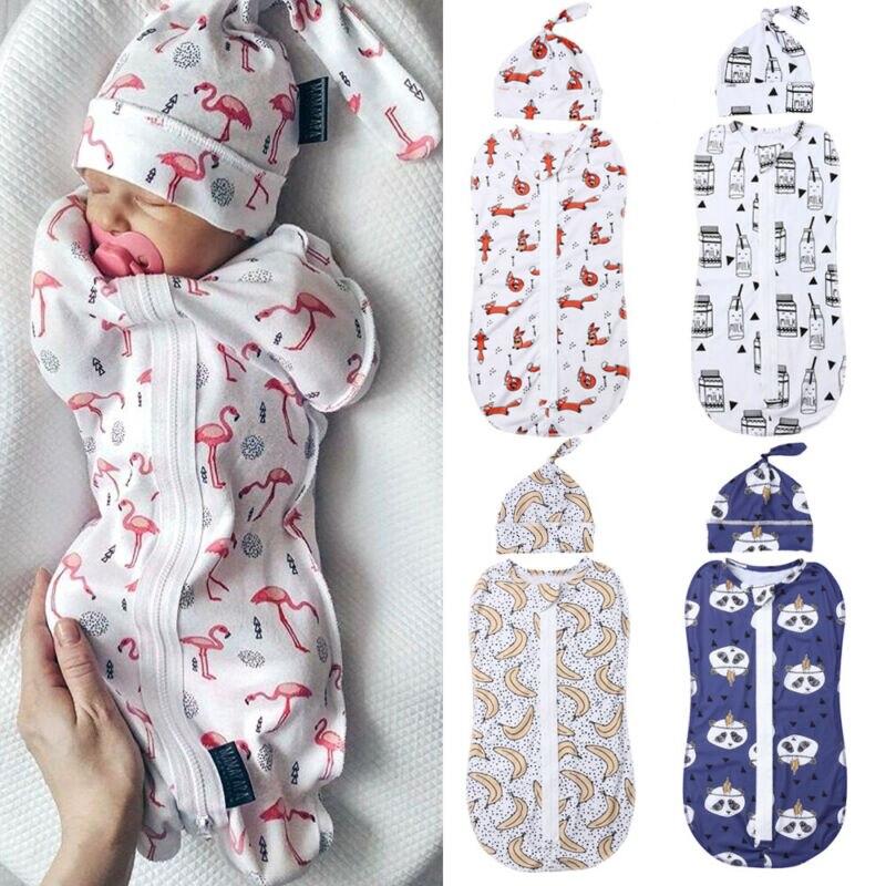 Newborn Baby Cotton Sleeping Bags Zipper Swaddle Blanket Wrap Sleeping Bag+Hat 2pc Size 0-6M