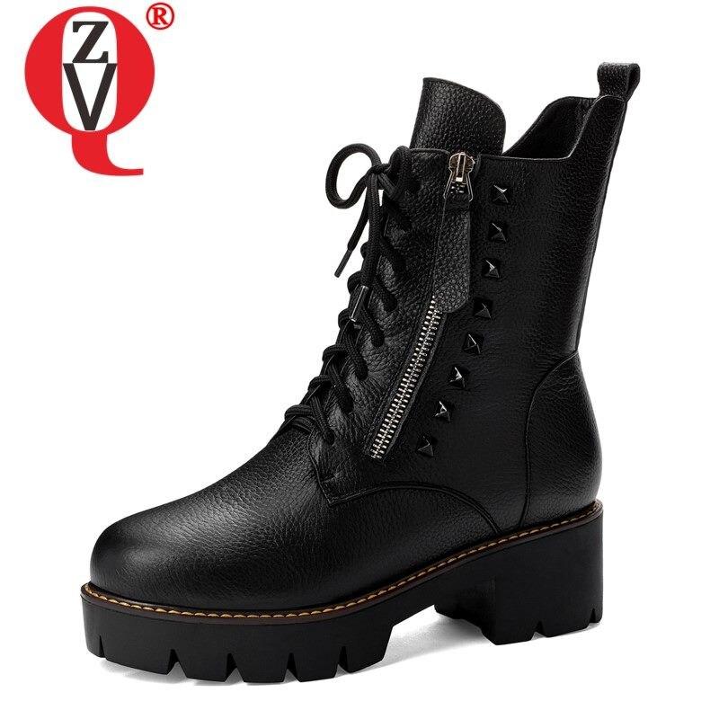 Ankle boots dedo do pé redondo de couro ZVQ runk legal sapatas das mulheres primavera inverno Gothic metal studded rocha menina 5cm saltos martin botas