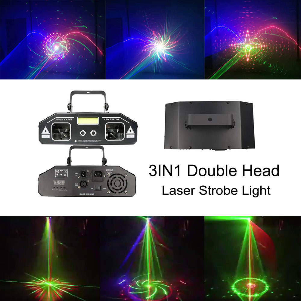 3IN1 stroboscopic laser light double head scanning laser light strobe light professional disco bar dance club lighting equipment