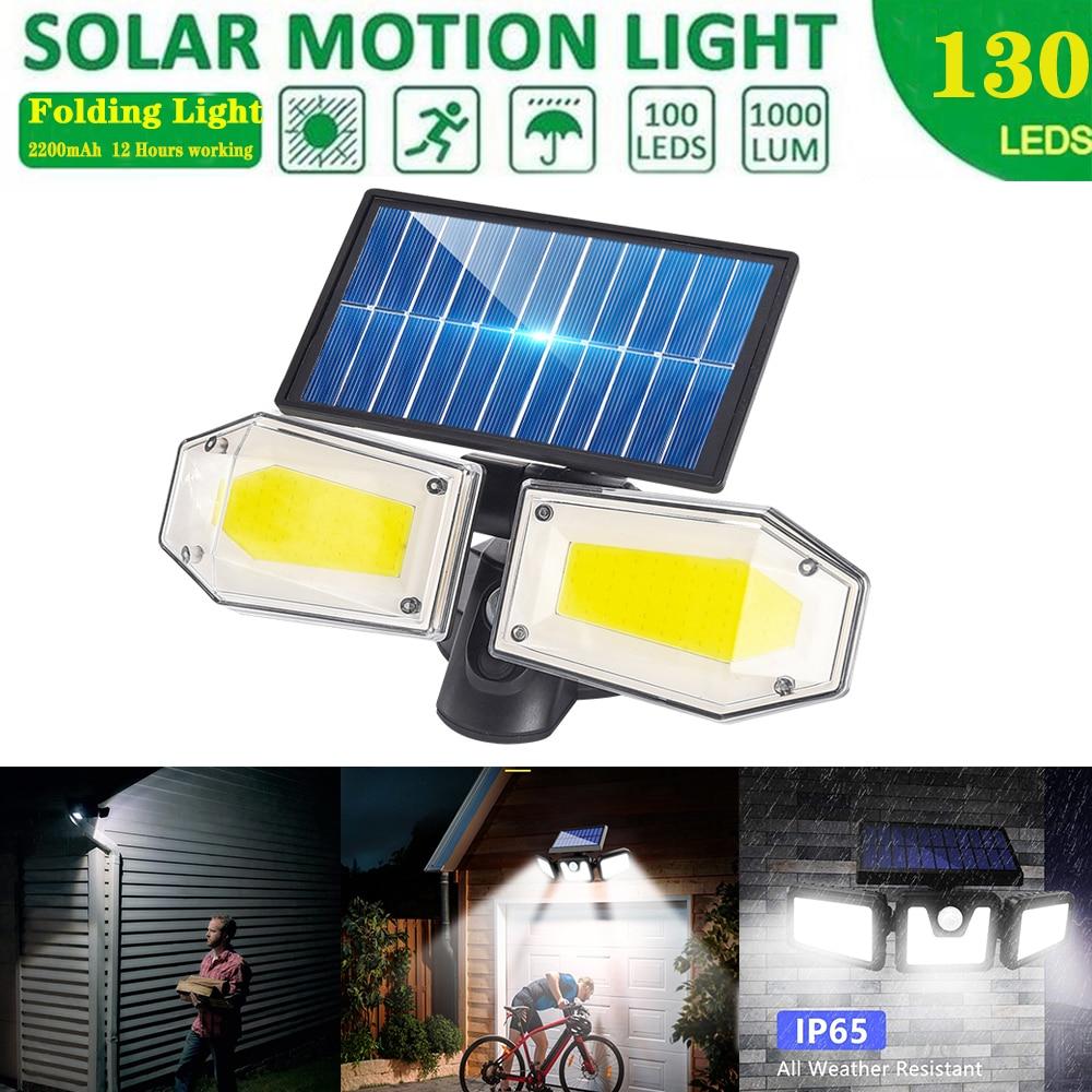 Luces solares Exteriores 3 Modos opcionales Sensor de movimiento COB luz doble cabezal giratorio con 270 gran angular luz de seguridad impermeable
