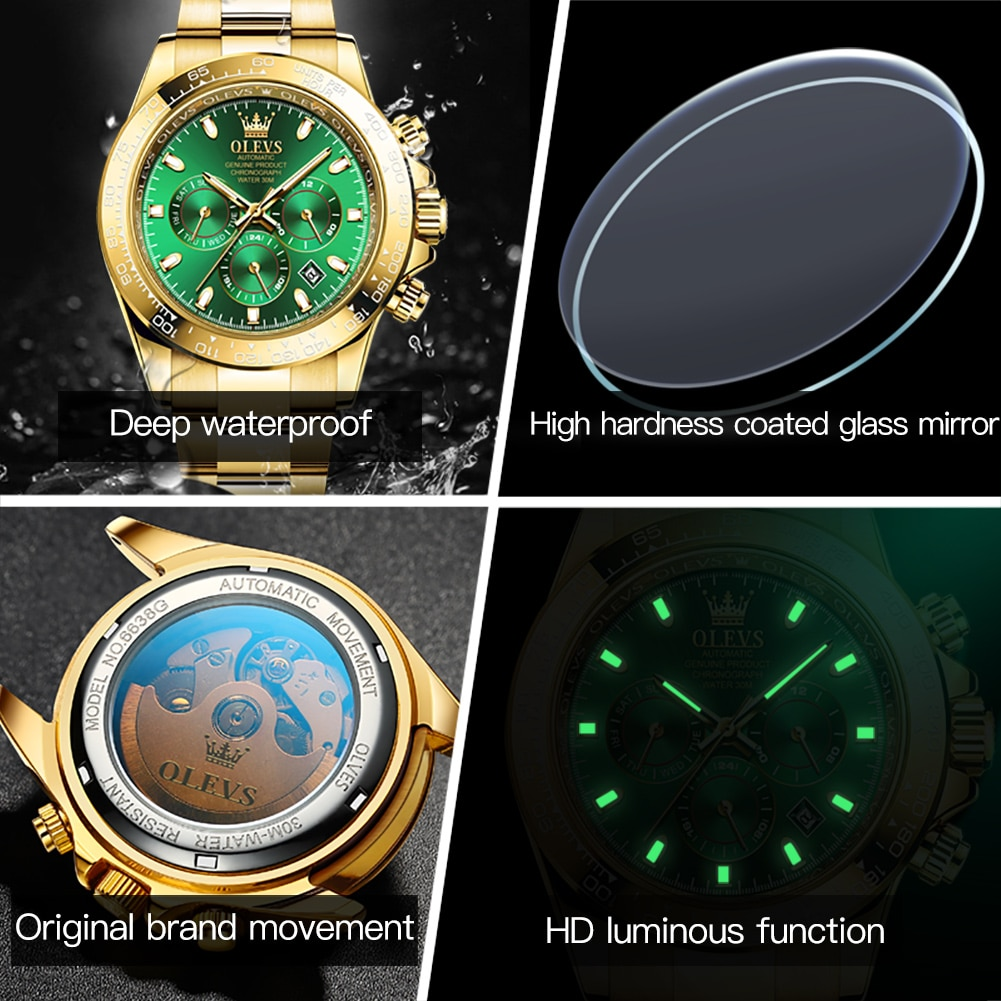 OLEVS Gold Mechanical Watches for Men 2021 Fashion Sports Waterproof Stianless Steel Automatic Mens Wristwatches G6638 enlarge