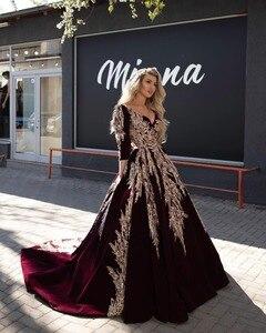 Formal Dubai Arabic Burgundy Evening Dresses Lace Applique Celebrity V Neck Long Sleeve 2020 Prom Gowns Formal Robe De Soiree