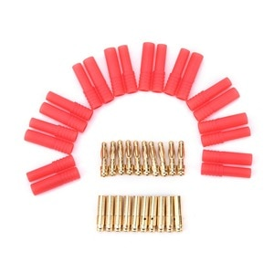 10 Pairs 4mm RC Battery Gold10 Sets Gold Plated Banana Plug HXT 4mm Banana Plugs with Red Housing for RC Connector Socket