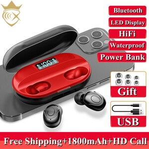 TWS Bluetooth 5.2 Earphones 1800mAh Charging Box Wireless Headphone 9D Stereo Sports Waterproof Earbuds Headsets With Microphone