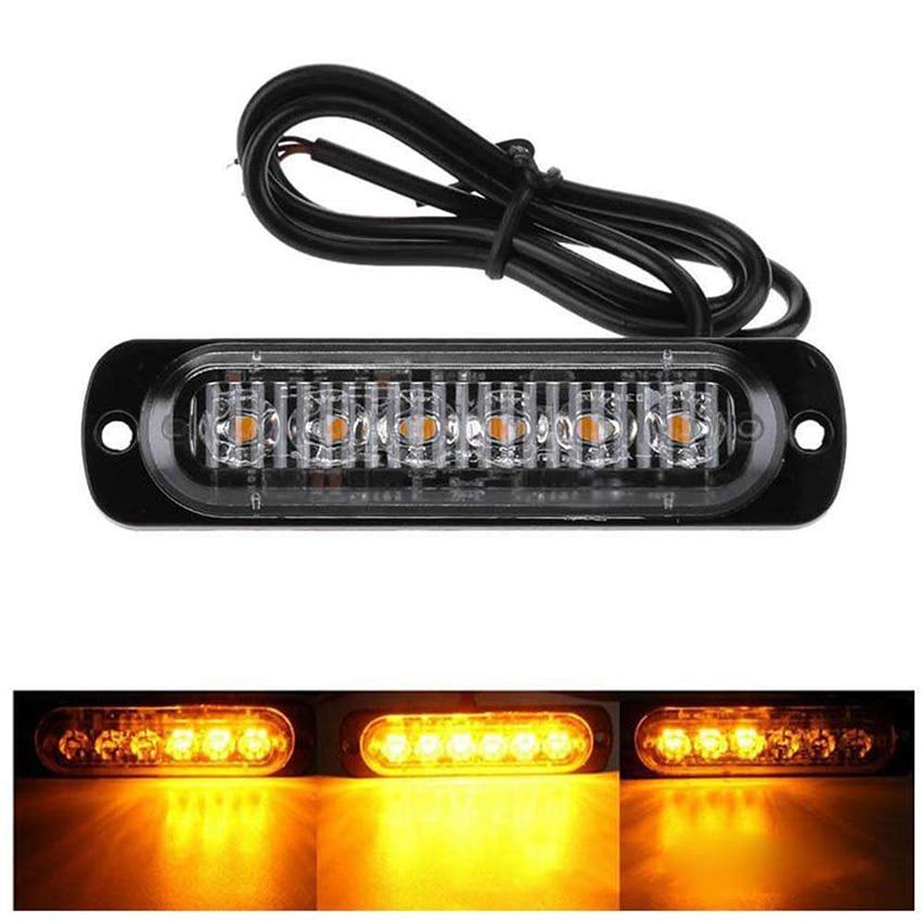 12V-24V Emergency Strobe Lights, Universal 6 LED 18W Surface Mount Emergency Warning Flashing Strobe Light Bar for Car Truck